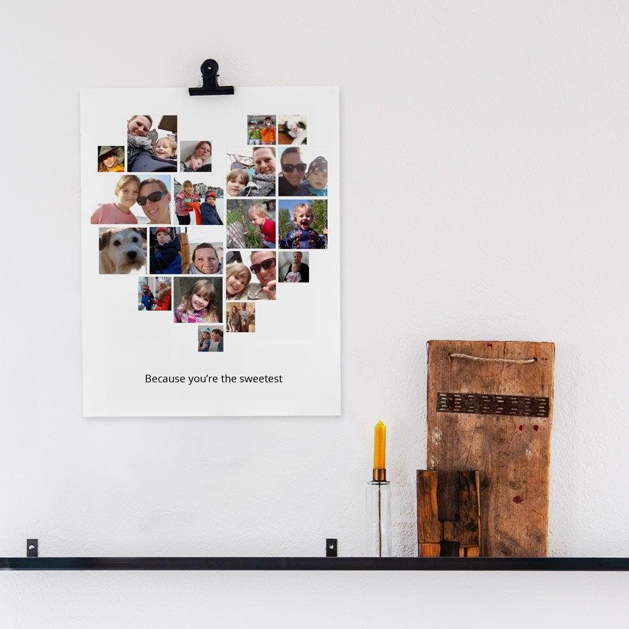 """Mamma og meg"" bildecollage-plakat - 30 x 40 cm"