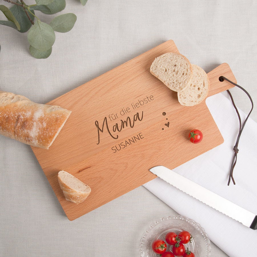 Muttertag - Holzbrett mit Gravur - Buche - horizontal