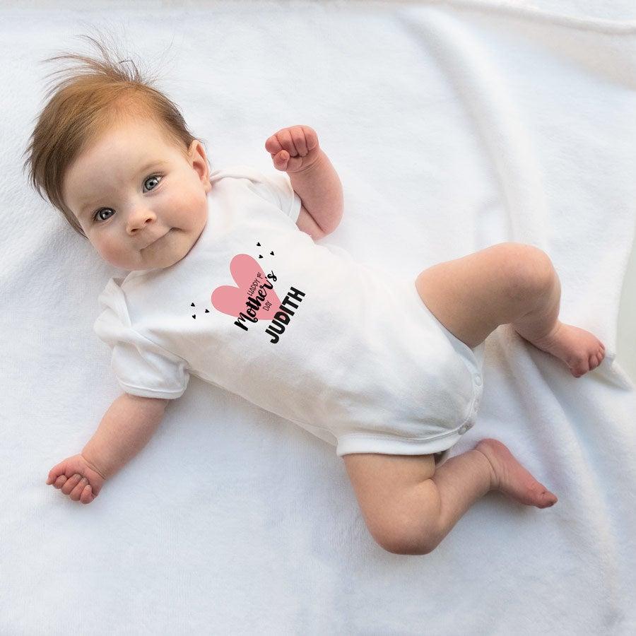 Ensimmäinen äitienpäivä - vauvan body - Valkoinen-50/56