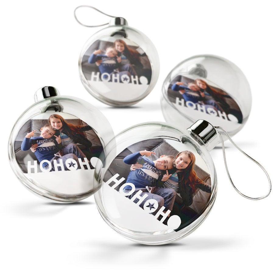 Palle di Natale con foto - Trasparente (4 pezzi)