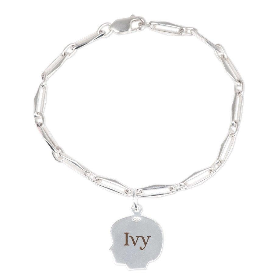 Engraved silver charm bracelet - Child's head - Girl