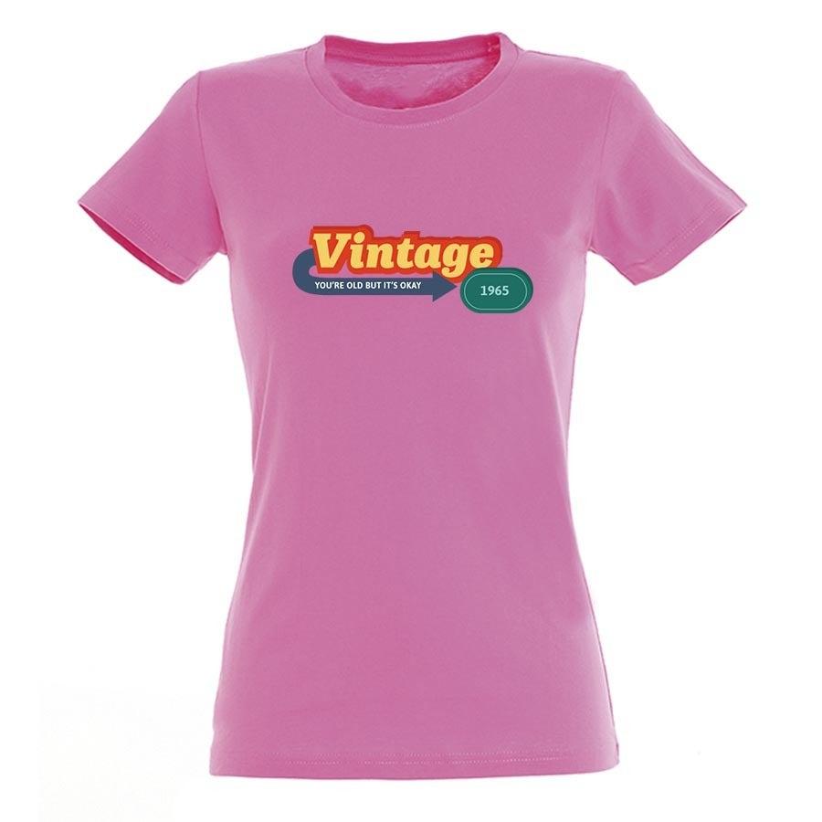 T-shirt voor vrouwen bedrukken - Roze - XL