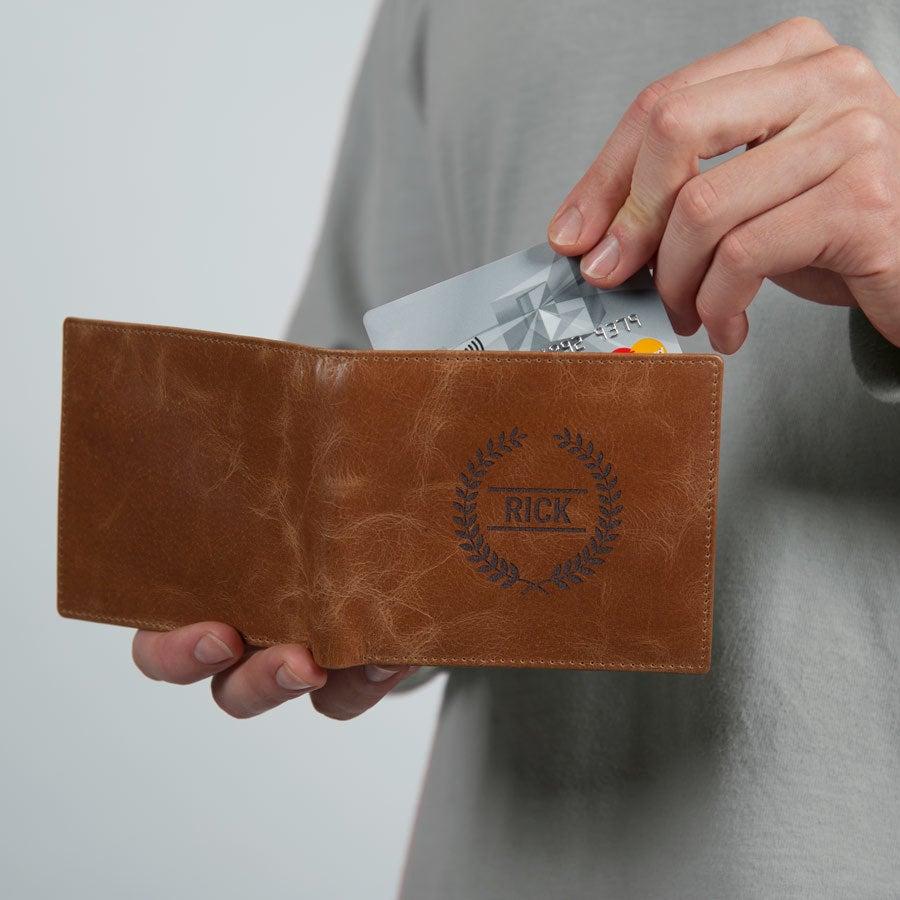 Leren portemonnee graveren - Bruin