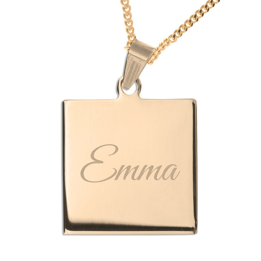 Name Pendant – Square (Gold-plated)