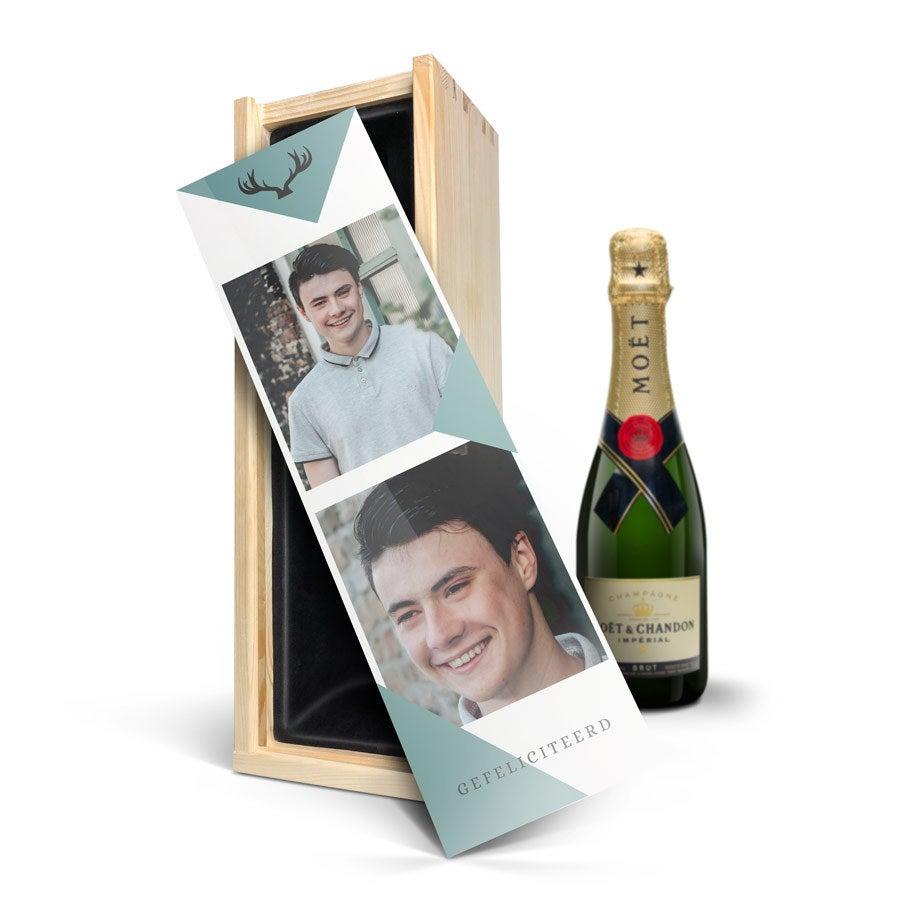 Champagne in bedrukte kist - Moët & Chandon (375ml)