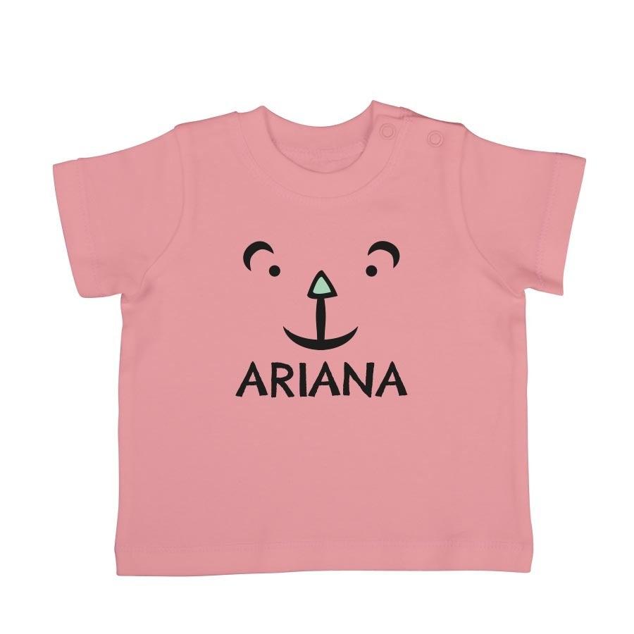 Babyskjorta med tryck - kort ärm - Ljusrosa - 50/56