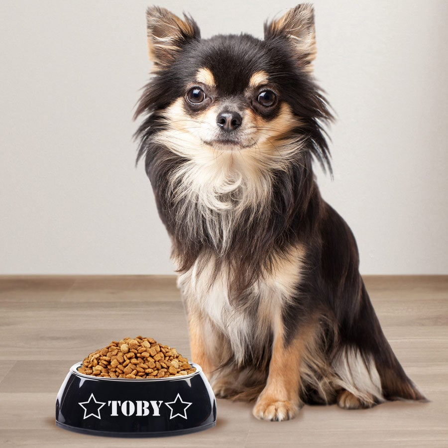 Hondenvoerbak met naam - Zwart - 160 ml