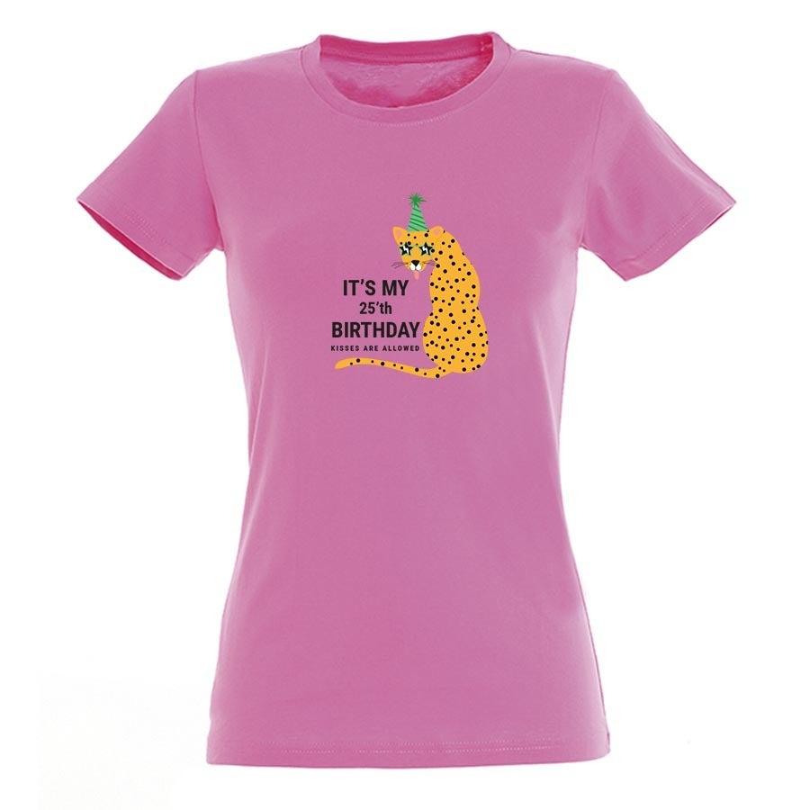 T-paita omalla painatuksella - Naiset - Pinkki - L