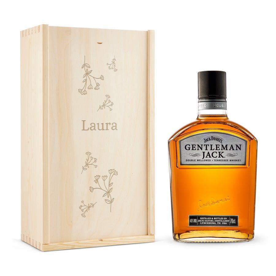 Whisky i indgraveret æske – Gentleman Jack Bourbon