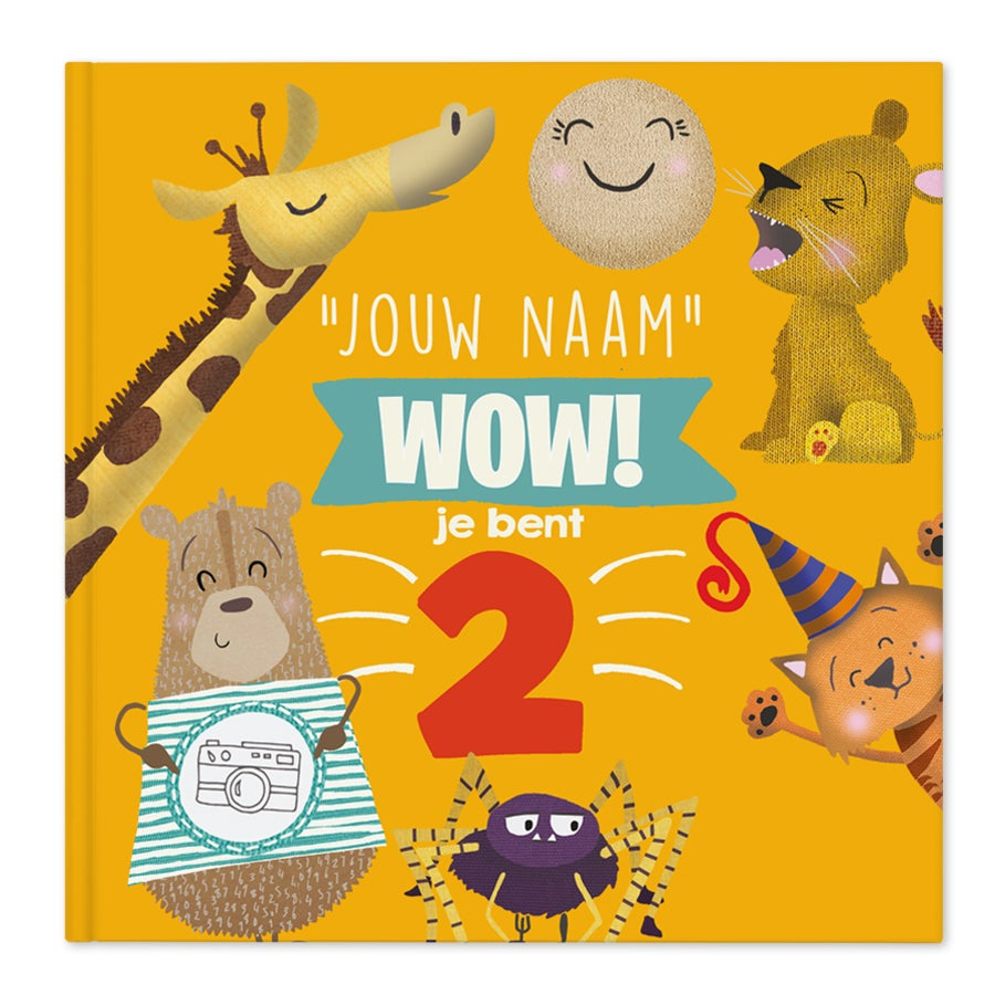 Boek met naam en foto - Wow, je bent 2! - Hardcover