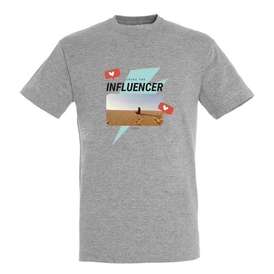 T-paita omalla painatuksella - Miehet - Harmaa - XL