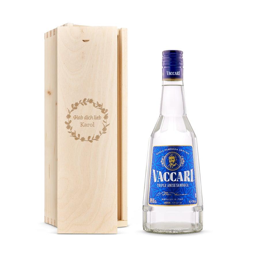 Likör in gravierter Holzkiste - Sambuca Vaccari