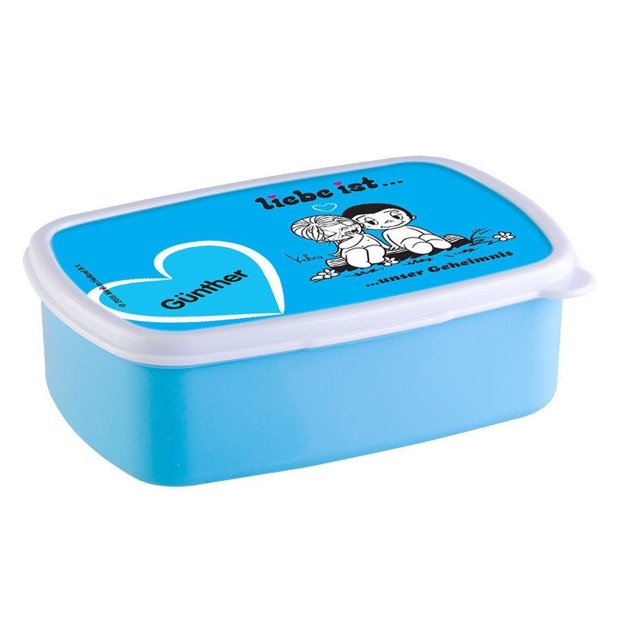 Individuellküchenzubehör - Brotdose mit Namen Liebe ist... Hellblau - Onlineshop YourSurprise