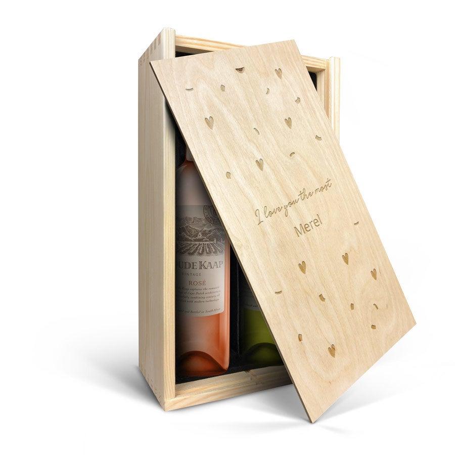 Wijnpakket in gegraveerde kist - Oude Kaap - Wit en rosé