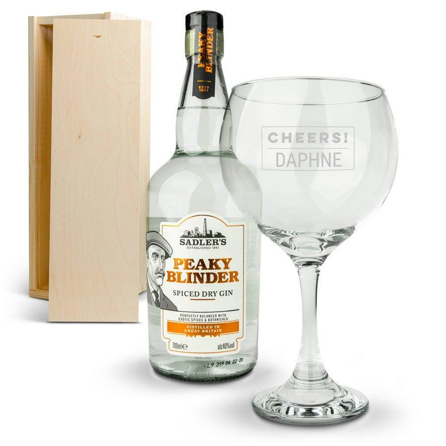 Peaky Blinders gin-pakke - med indgraveret kasse