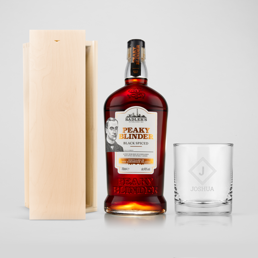 Peaky Blinders rum set with engraved glass