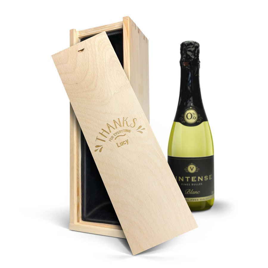 Víno v gravírovacej krabici - Vintense Blanc Fines Bulles 0%