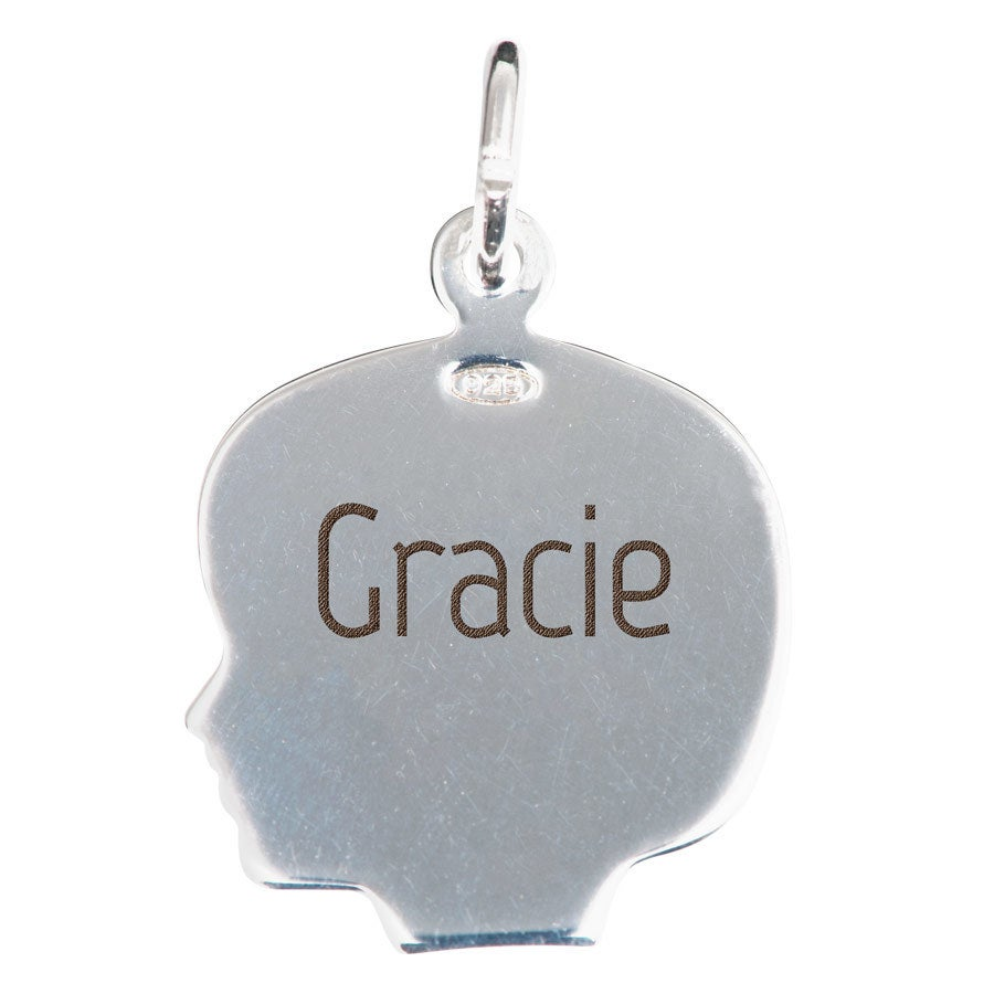 Engraved silver charm - Child's head - Girl
