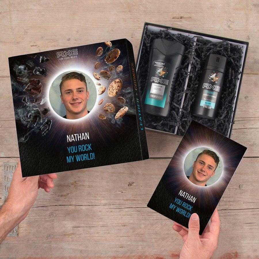 Ax darčeková súprava - sprchový gél a deodorant + bullet bulletin (koža a sušienky)