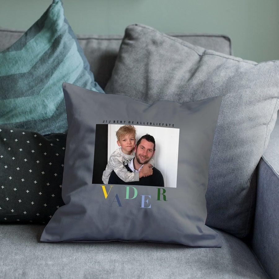 Vaderdag kussen bedrukken - Donkergrijs - 40 x 40 cm