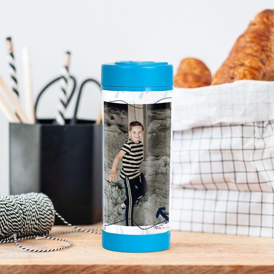 Juomapullo omalla kuvalla - Sininen