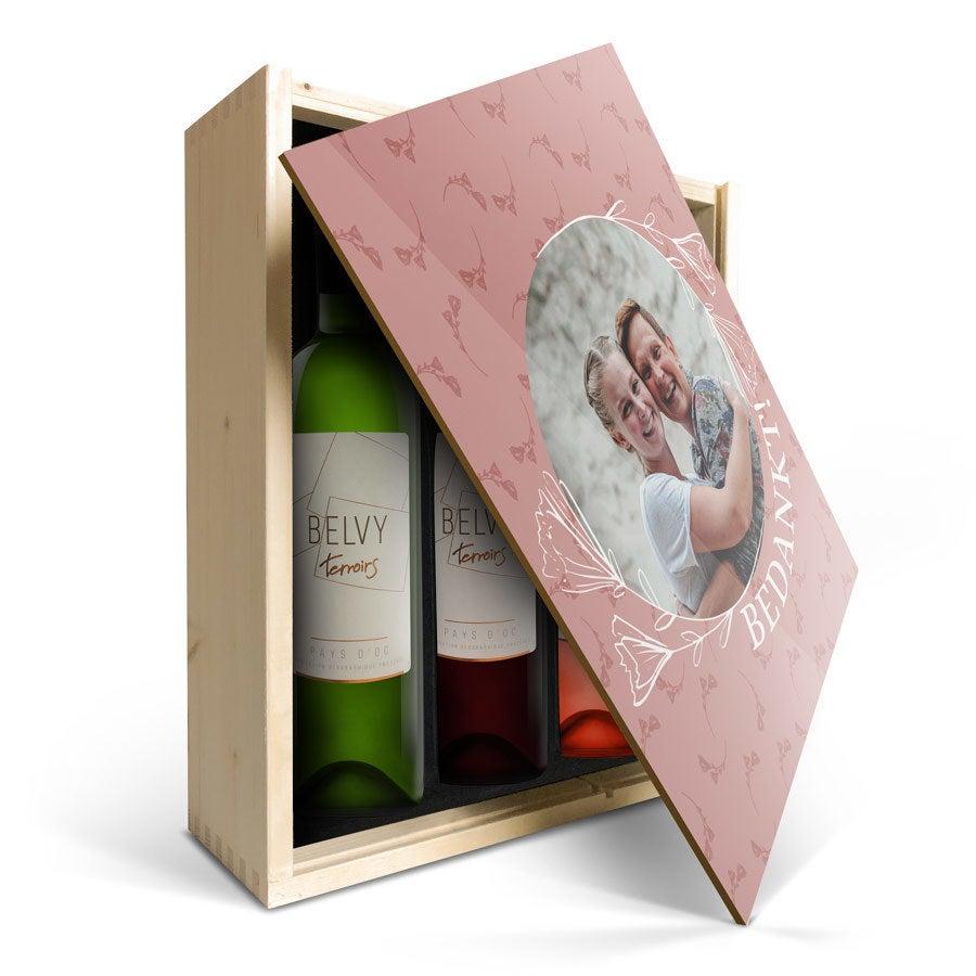 Wijnpakket in bedrukte kist - Belvy - Wit, rood en rosé