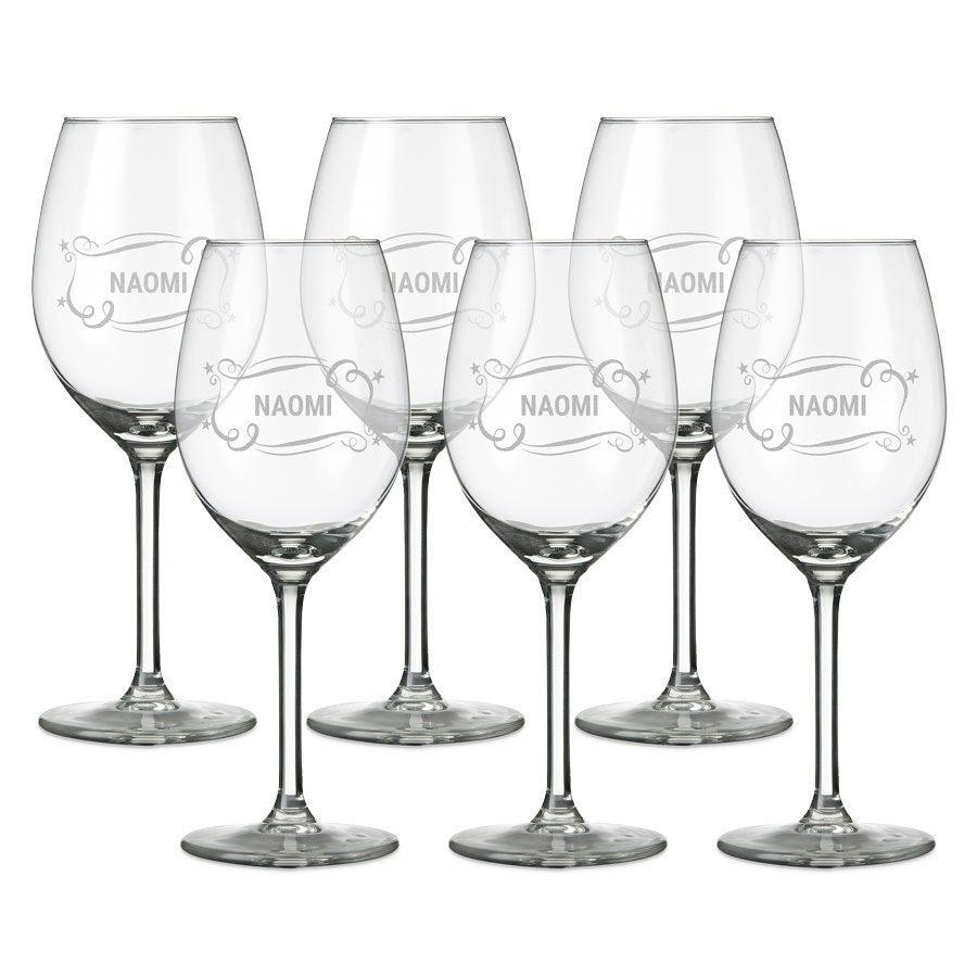 Wit wijnglas graveren - 6 stuks