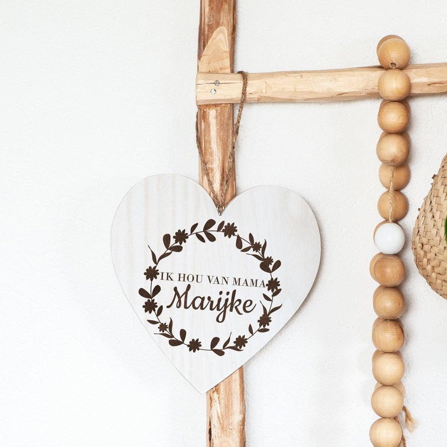 Moederdag houten hart - met naam