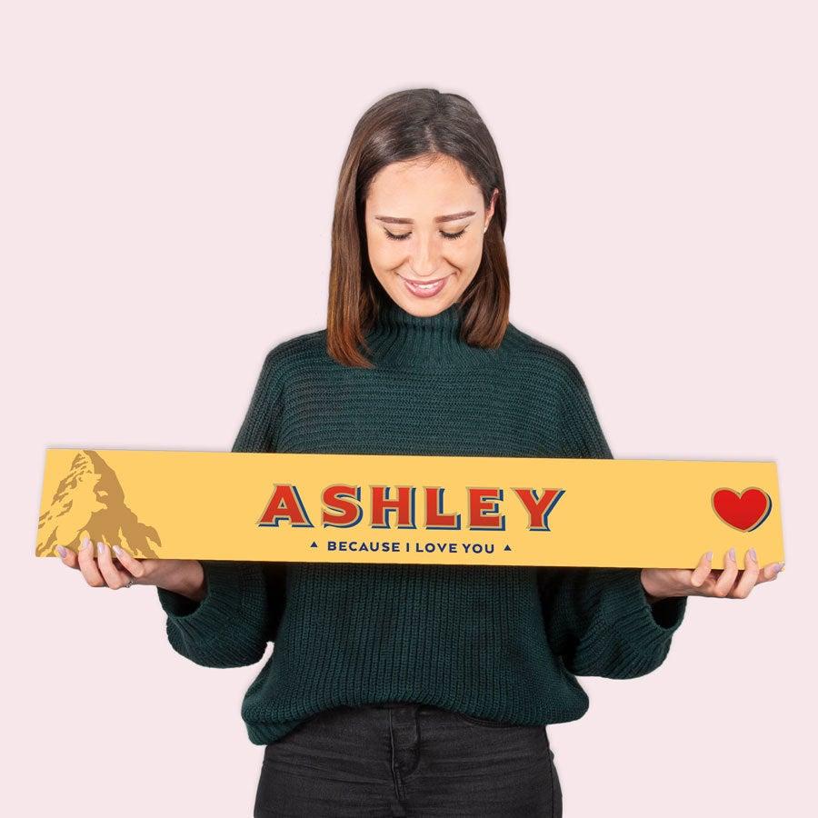Toblerone XXL liefdesreep met naam - 4,5 kilo