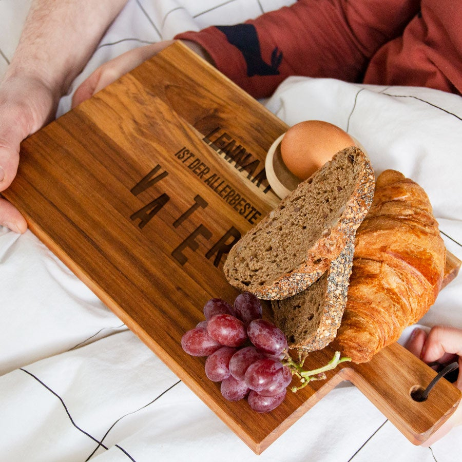 Vatertag - Holzbrett mit Gravur - Teak - horizontal