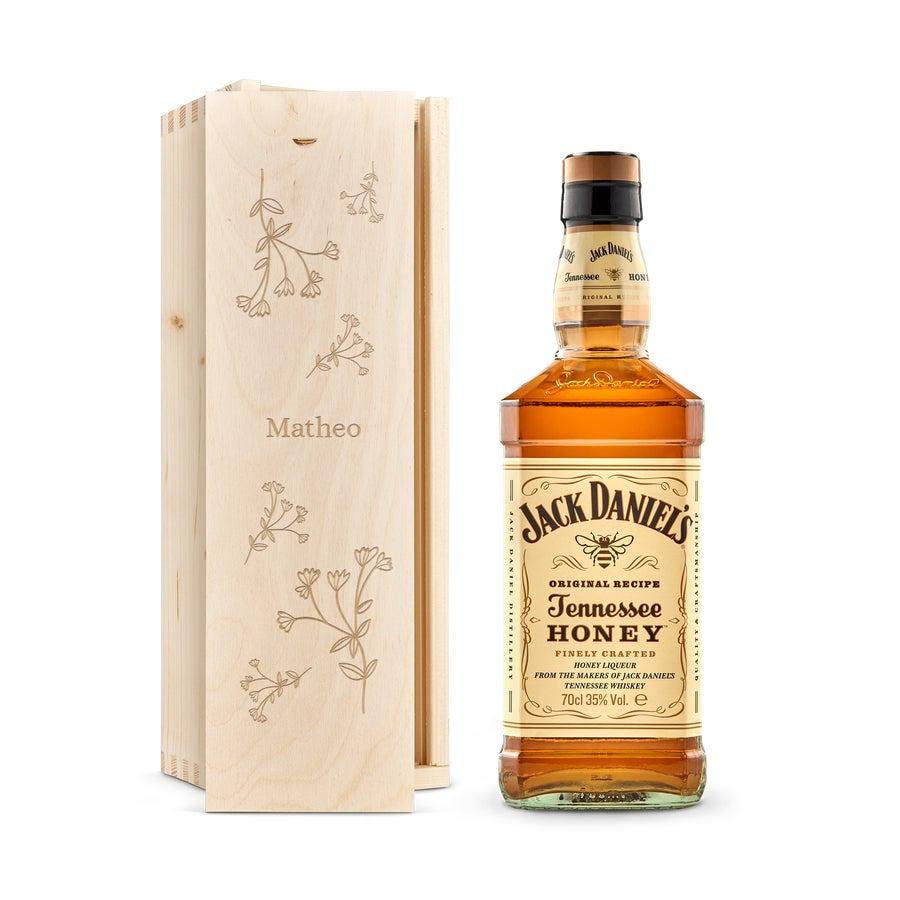 Whisky i indgraveret æske – Jack Daniels Honey Bourbon