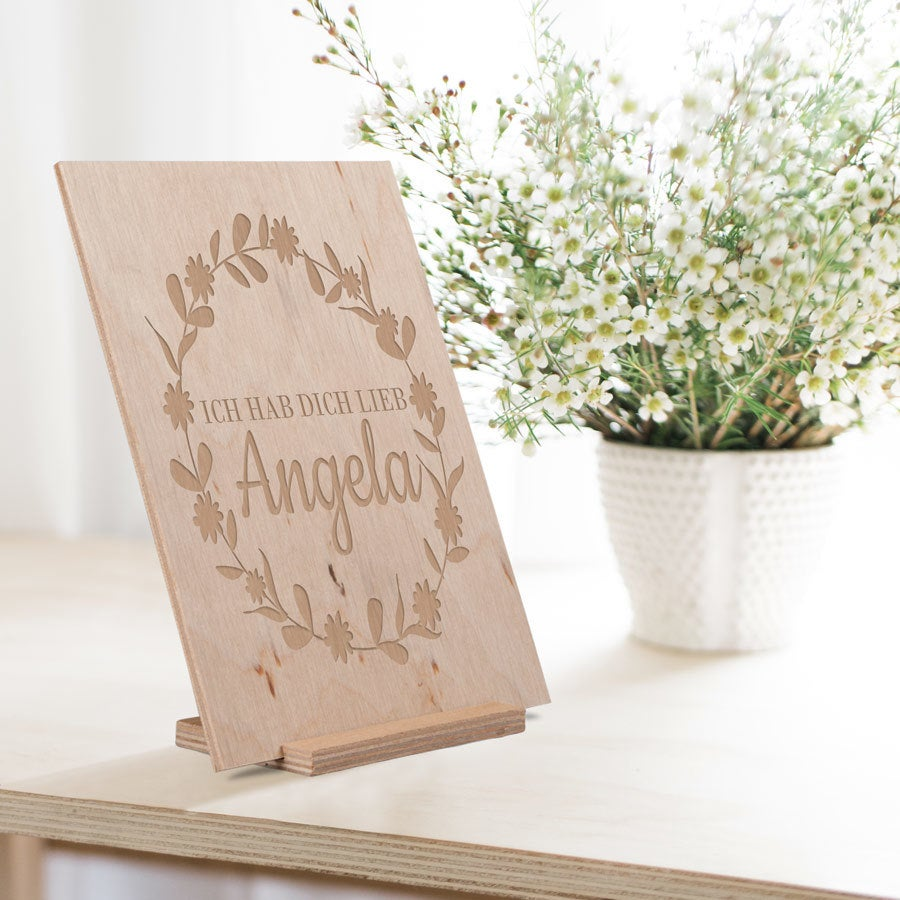 Holzkarte mit Gravur - Muttertag (vertikal)