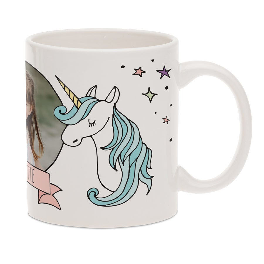 Unicorn krus med billede - Hvid