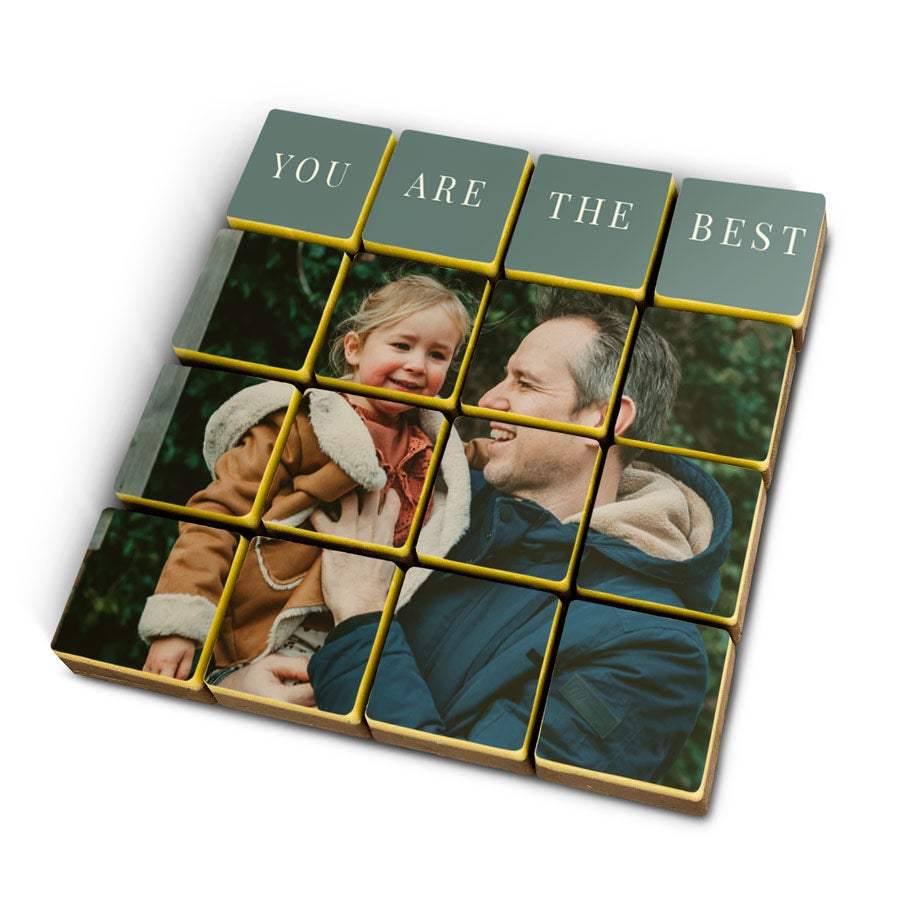 Foto op chocolade blokjes massief - 16 stuks