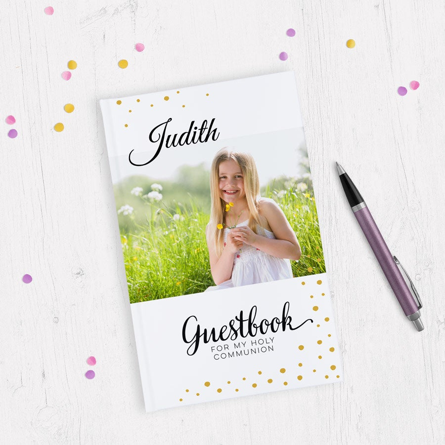 Printed Holy Communion guest book - A5 - Hardback