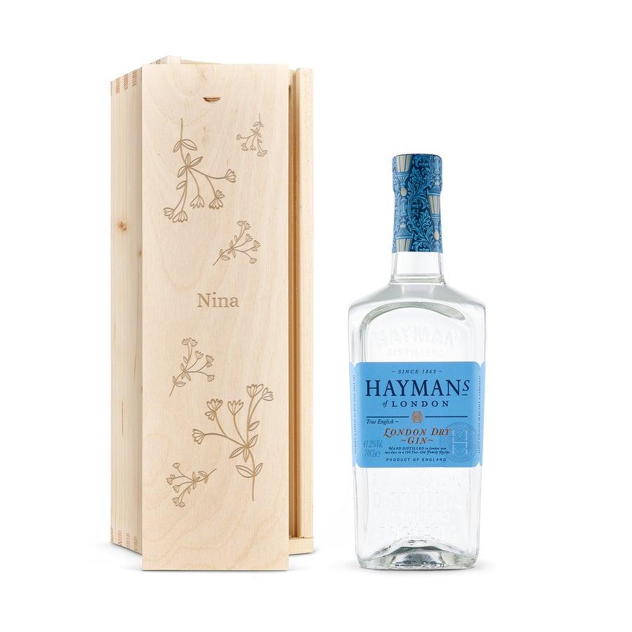 Haymans London dry Gin - Holzkiste mit Gravur