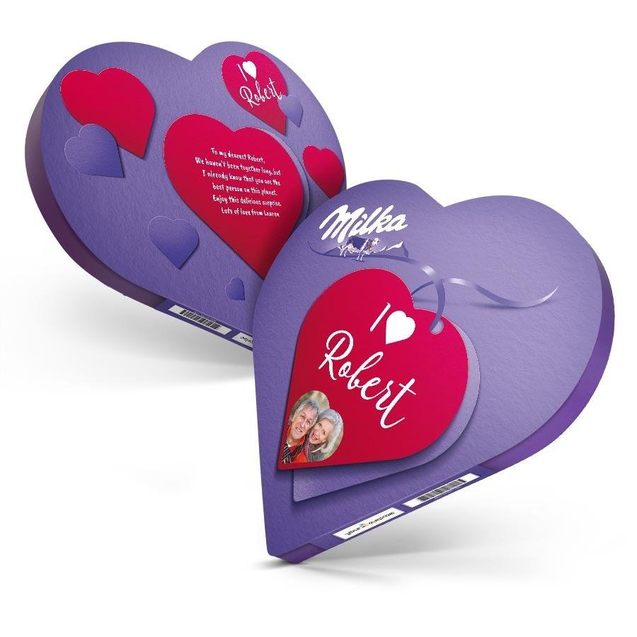 Personalised Milka Chocolate Gift Box - Heart-shaped