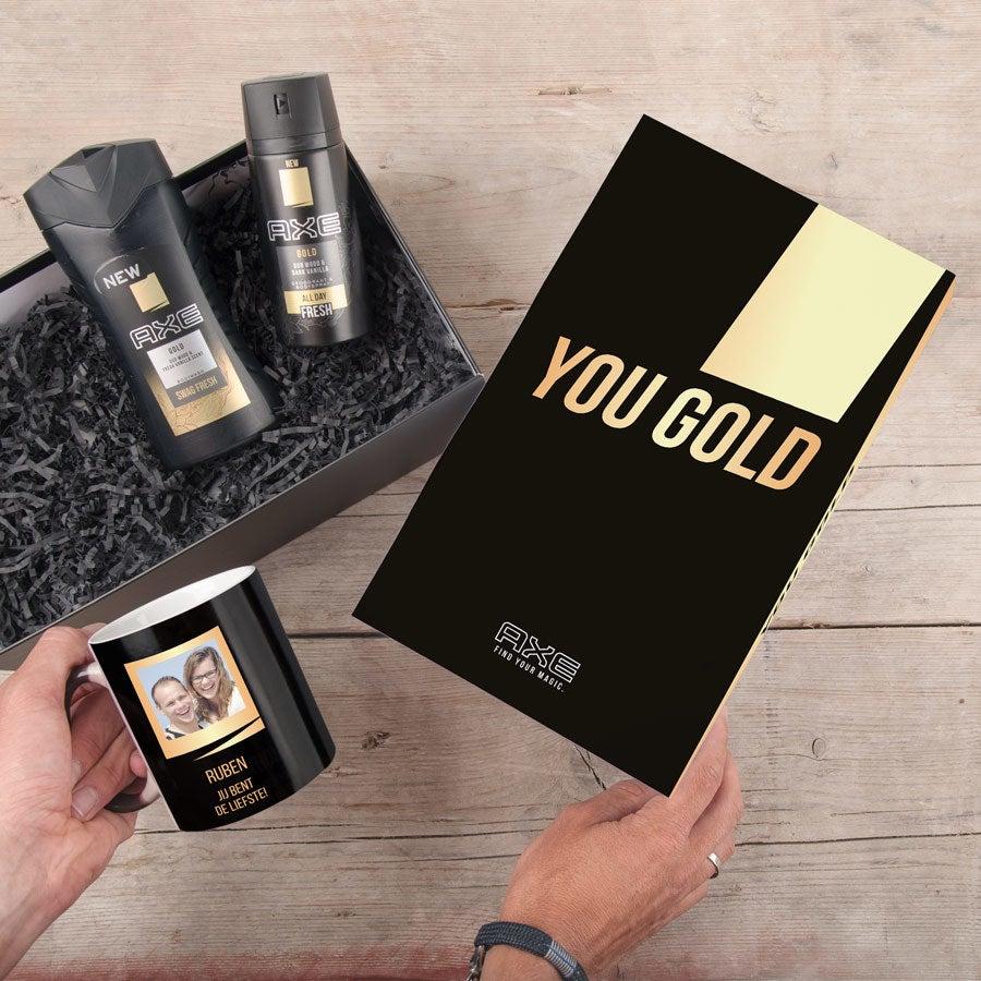 Gepersonaliseerde Axe geschenkset - Bodywash & deodorant + magic mok - Gold