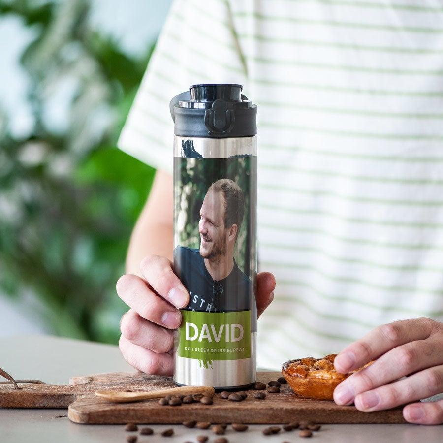 Luksuriøs vandflaske med drikketud – Aluminium-look