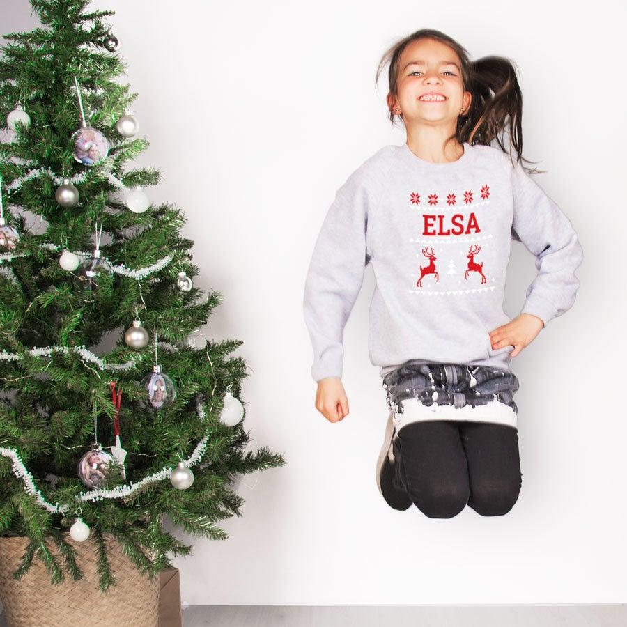 Děti vánoční jumpery - šedá - 10 let
