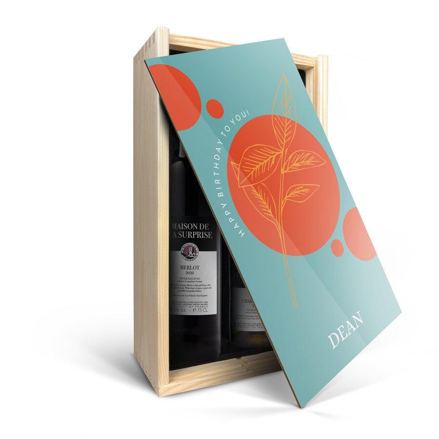 Set de botellas de vino en caja de madera impresa- Luc Pirlet - Merlot y Chardonnay