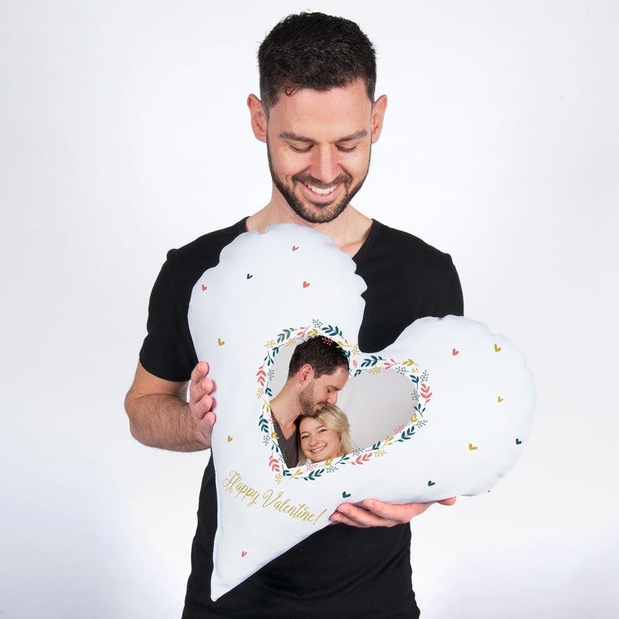 Plně potištěný fotografický polštář - srdce - Velours (60 x 60)