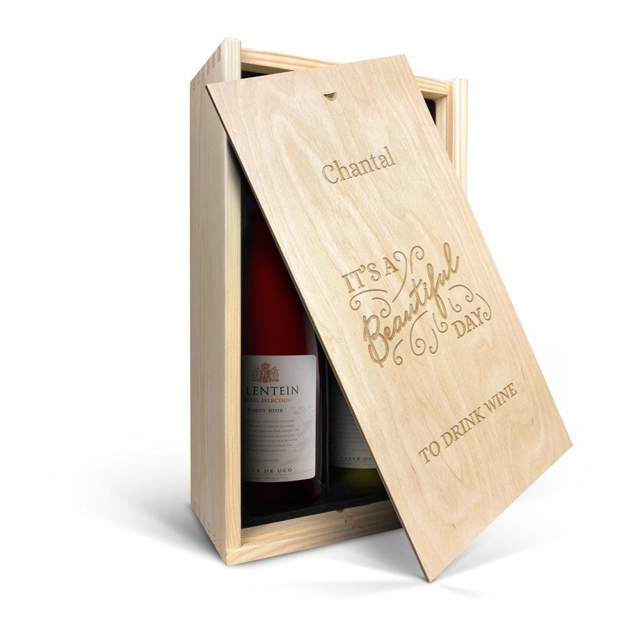 Wijnpakket in gegraveerde kist - Salentein - Pinot Noir en Chardonnay