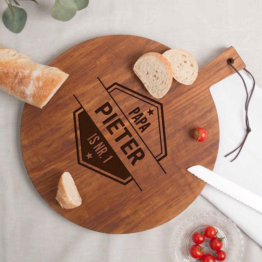 Houten broodplank graveren - Teak - Rond (M)