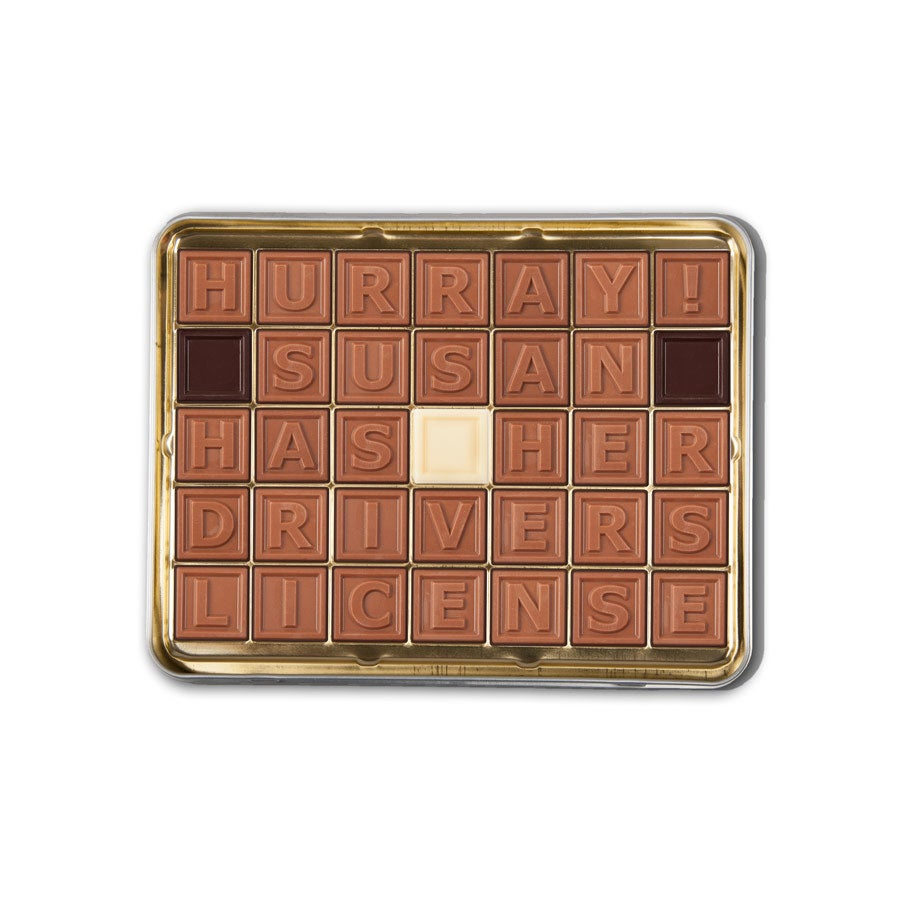 Telegramma di cioccolato in scatola - 35 caratteri