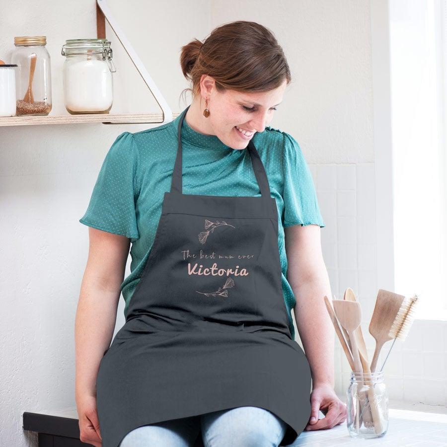 Avental da cozinha do dia da mãe - cinza  (impresso)