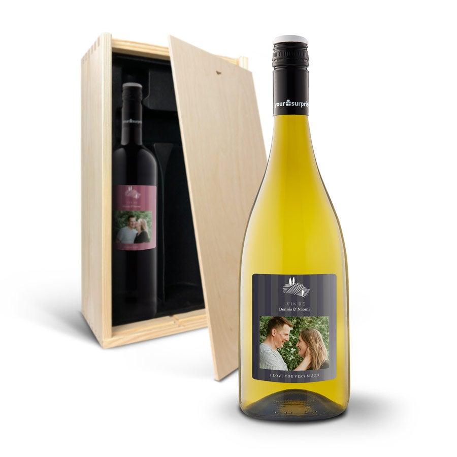 Wijnpakket met bedrukt etiket - Maison de la Surprise - Merlot en Chardonnay