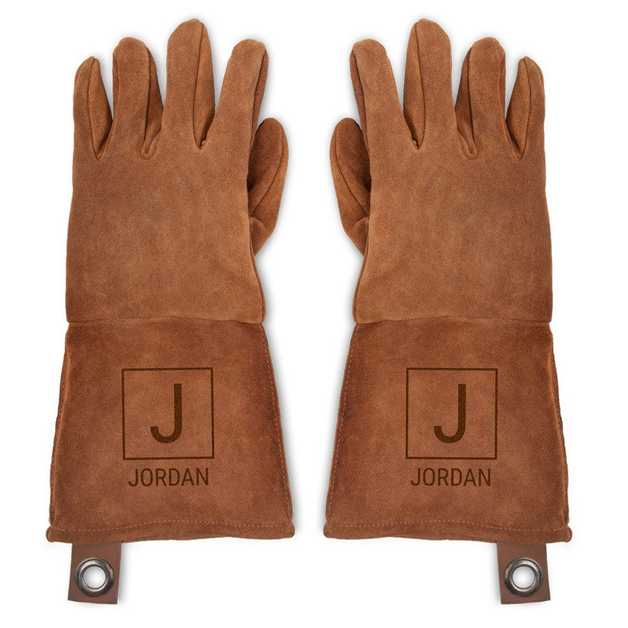 Leather BBQ gloves - set of 2