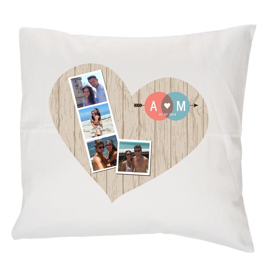 Pieni tyyny omalla kuvalla - täytteellä - valkoinen