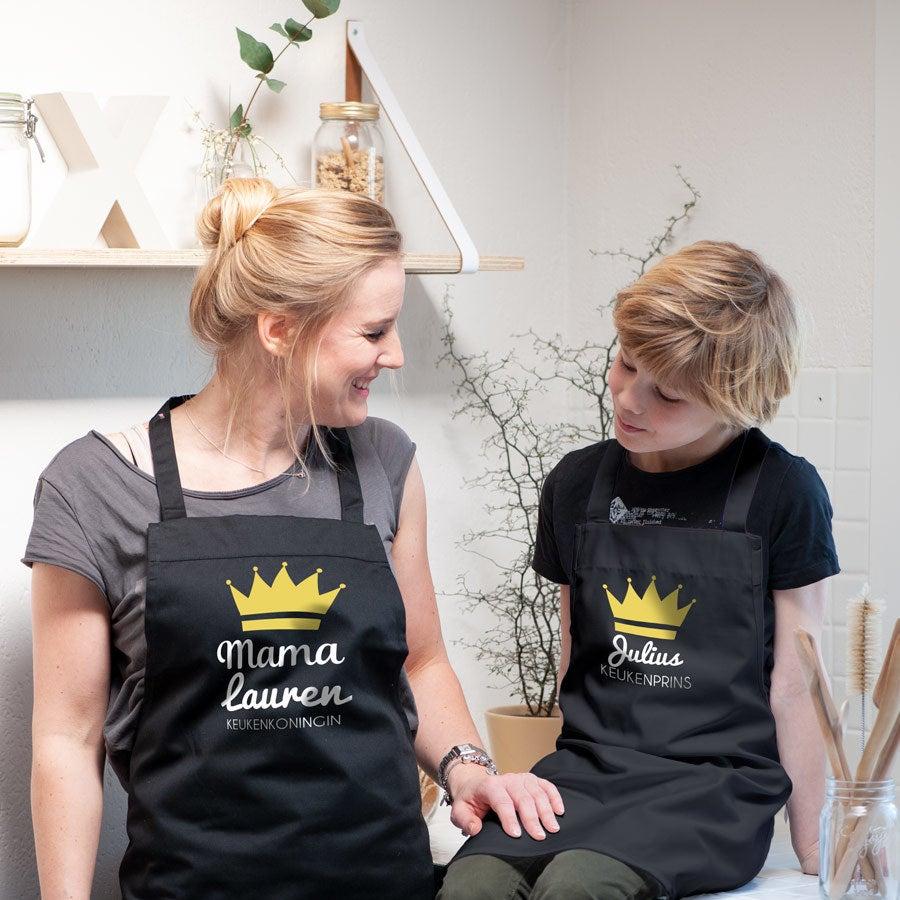 Set keukenschorten - Moeder en kind - Zwart